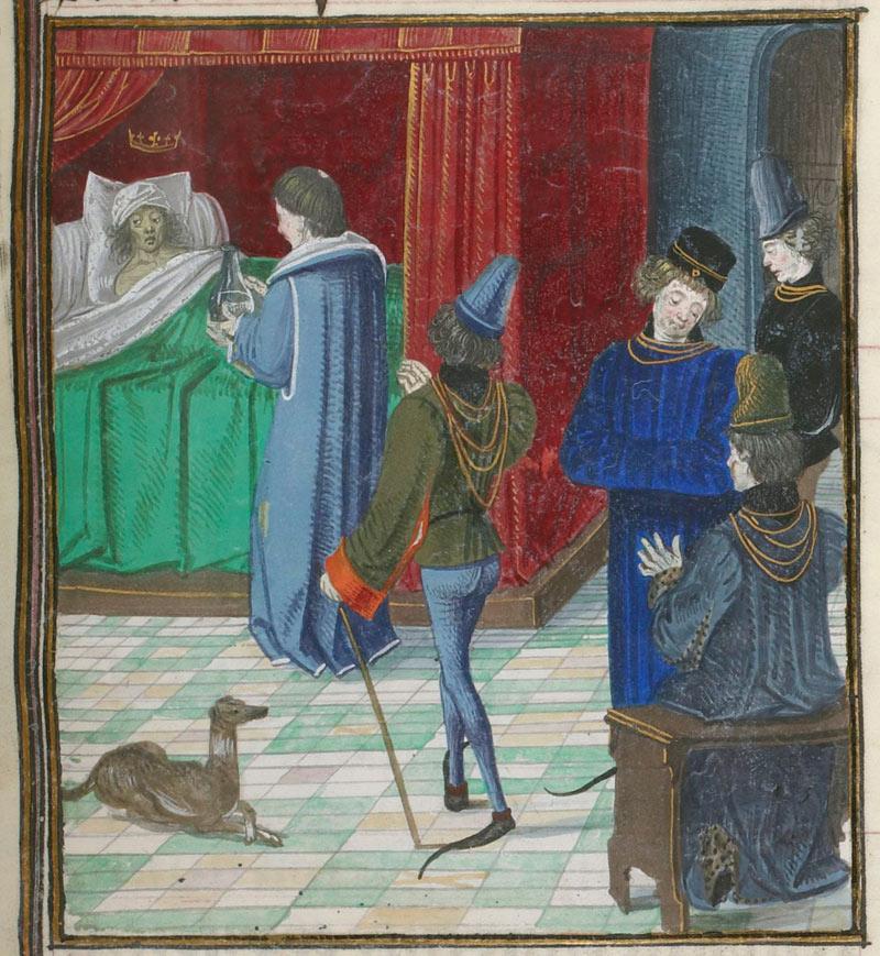 Врач посещает больного короля.