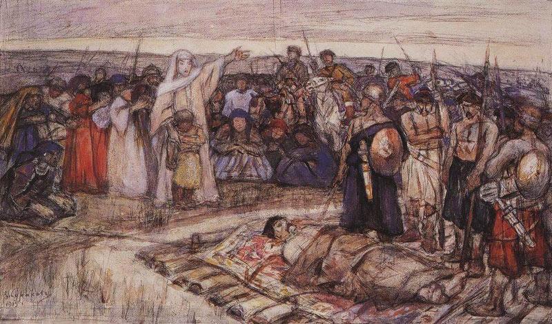 Княгиня Ольга встречает тело князя Игоря. Эскиз В.И. Сурикова, 1915.