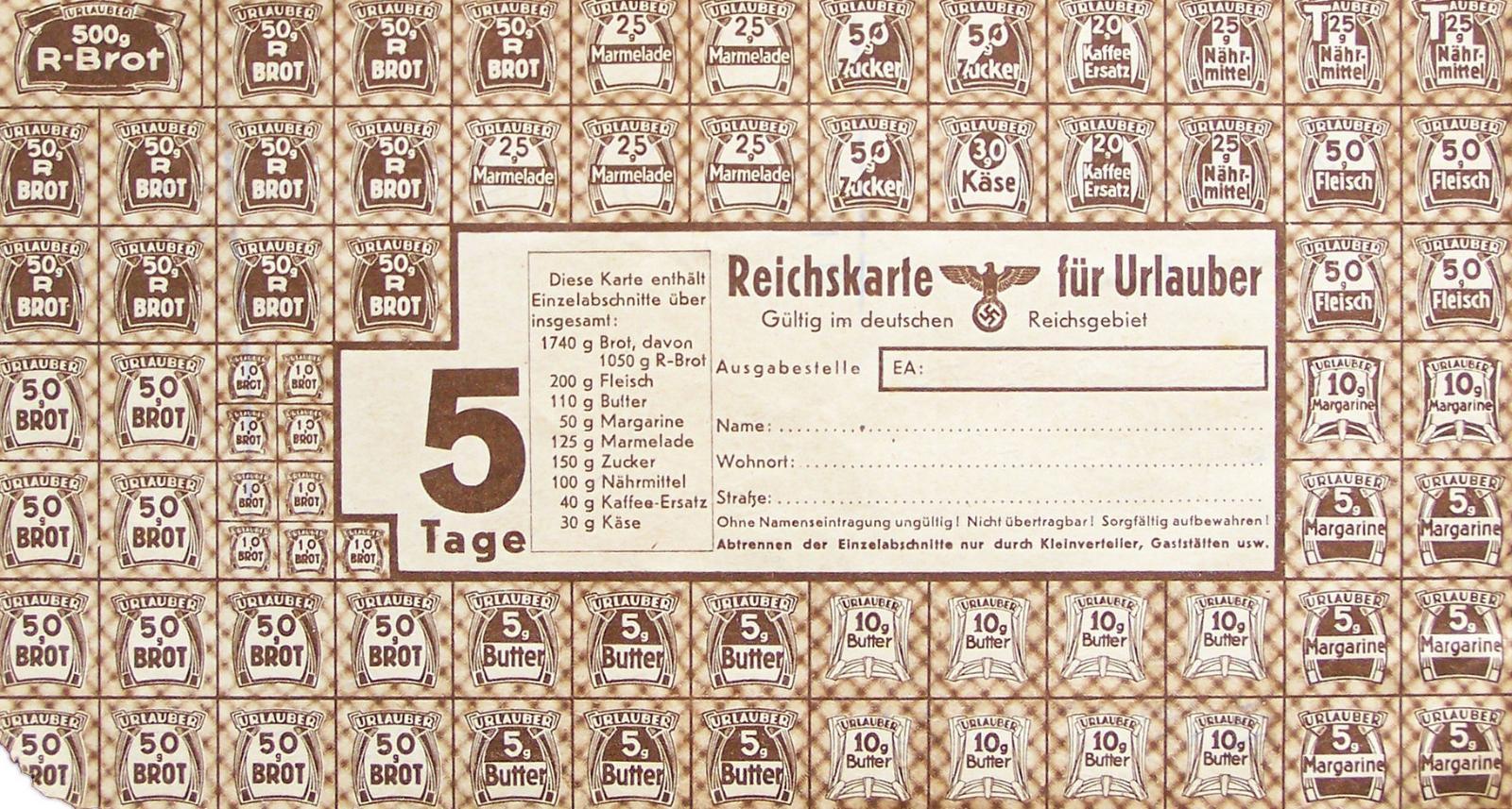 Германские продовольственные карточки, 1940-е годы.