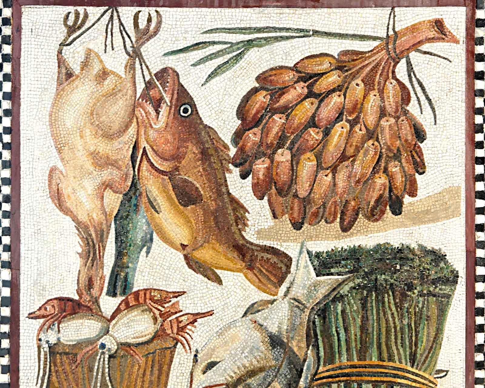 Птица, рыба, финики, спаржа и морепродукты. 1-й в. Мозаика.