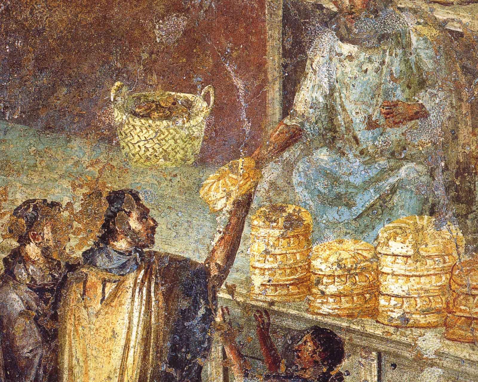 Эдил, раздающий хлеб городской бедноте. Фреска из Помпеи.