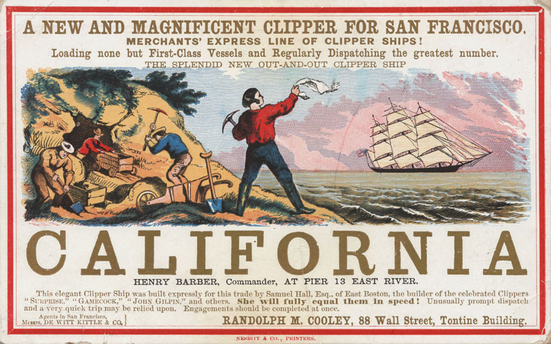 Реклама тура в Калифорнию к золотой лихорадке, 1850-е.