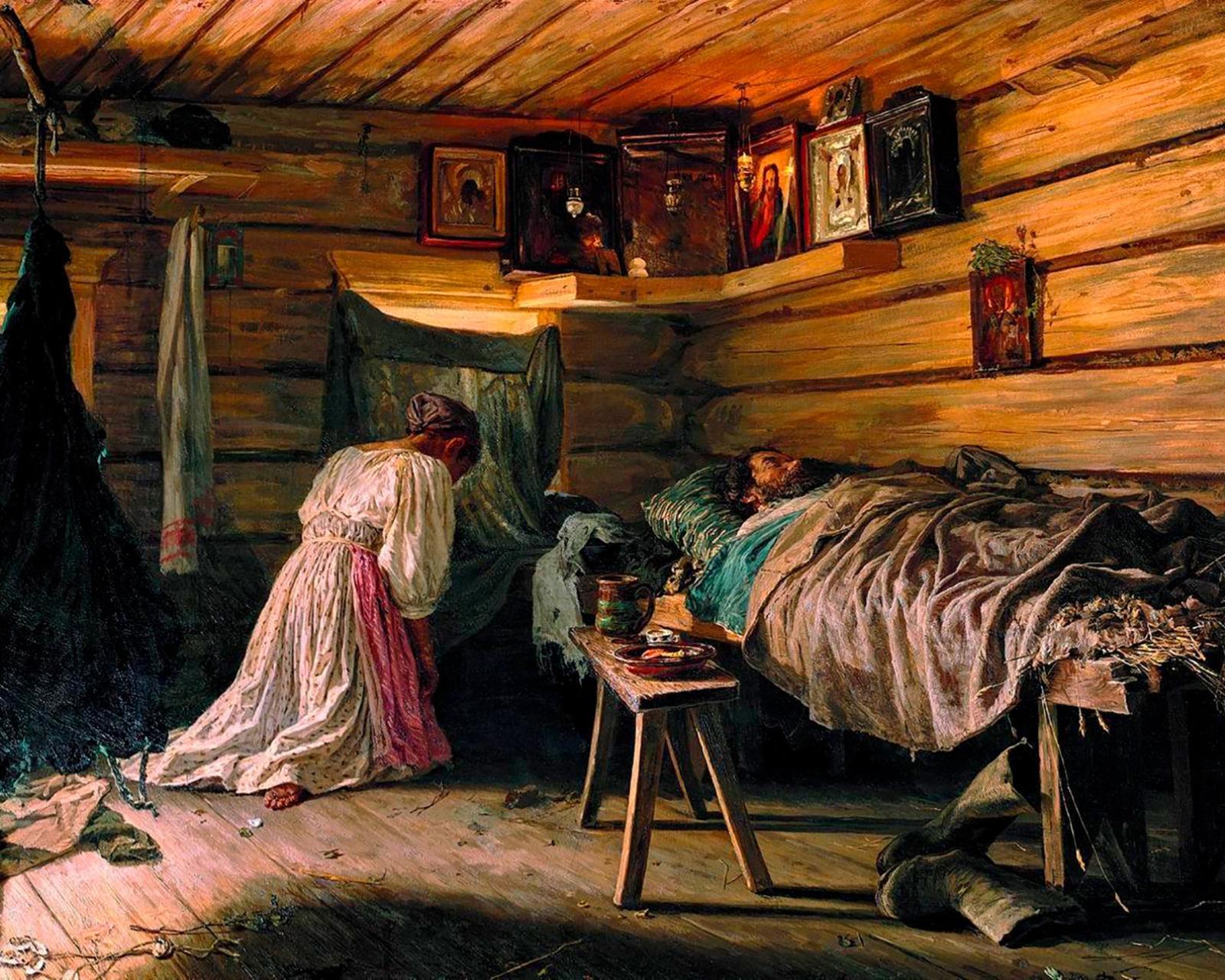В. Максимов. Больной муж. 1881 год.