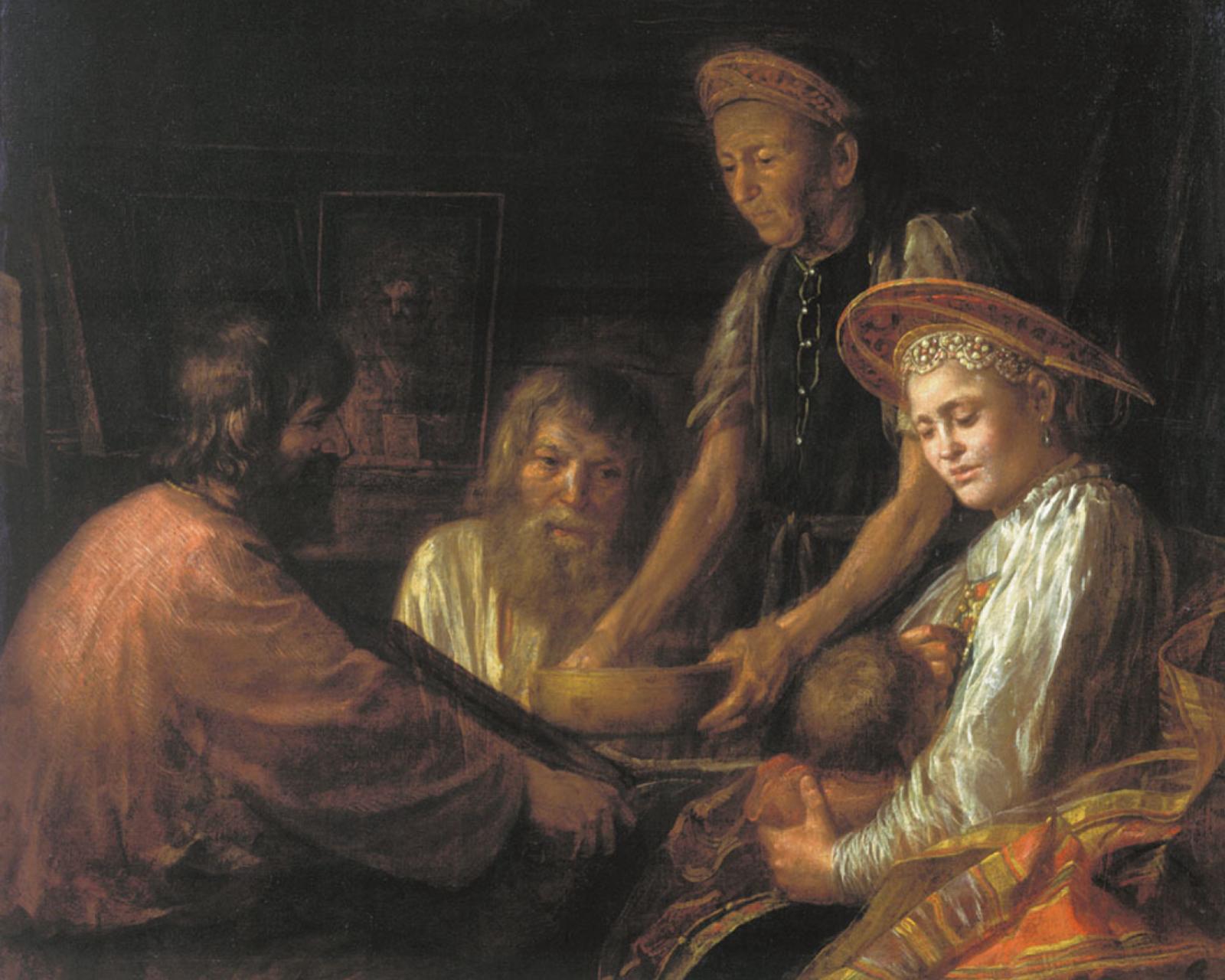 М. Шибанов. Крестьянский обед. 1774 г.