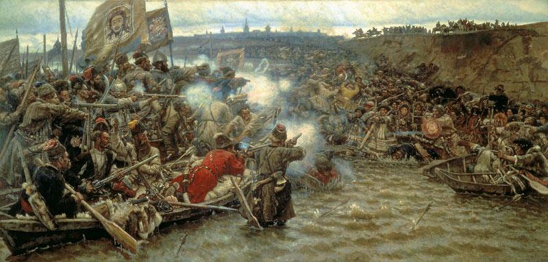 В. Суриков. «Покорение Сибири Ермаком Тимофеевичем», 1895.