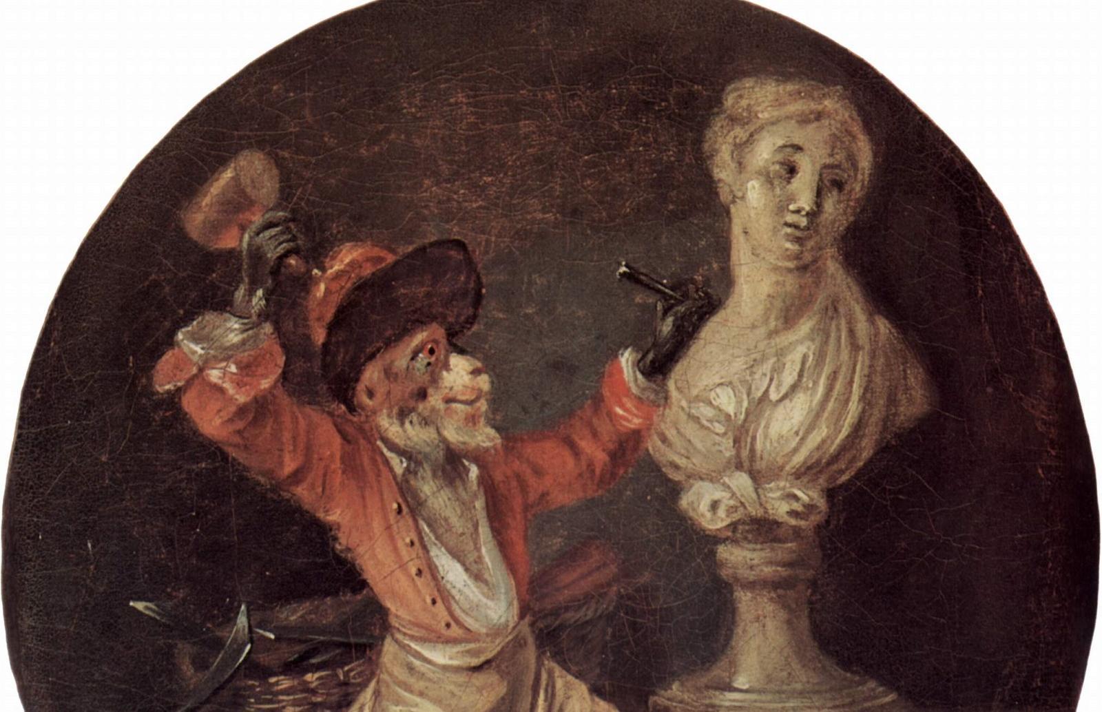 Антуан Ватто. Обезьянья копия скульптора, ок. 1710.
