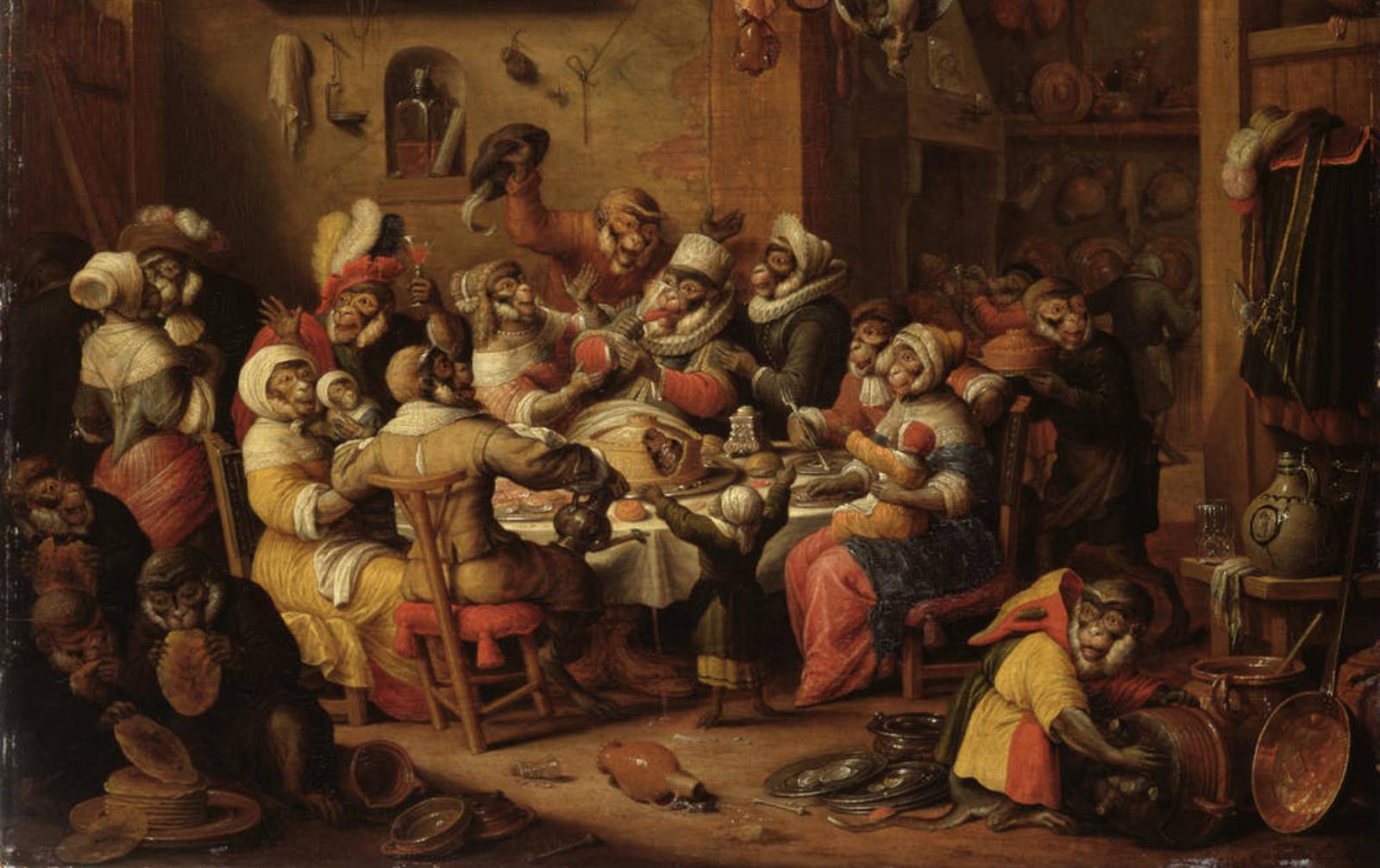 Николас Ван Верендаль. Пир обезьян, или Король пьёт, 1686.