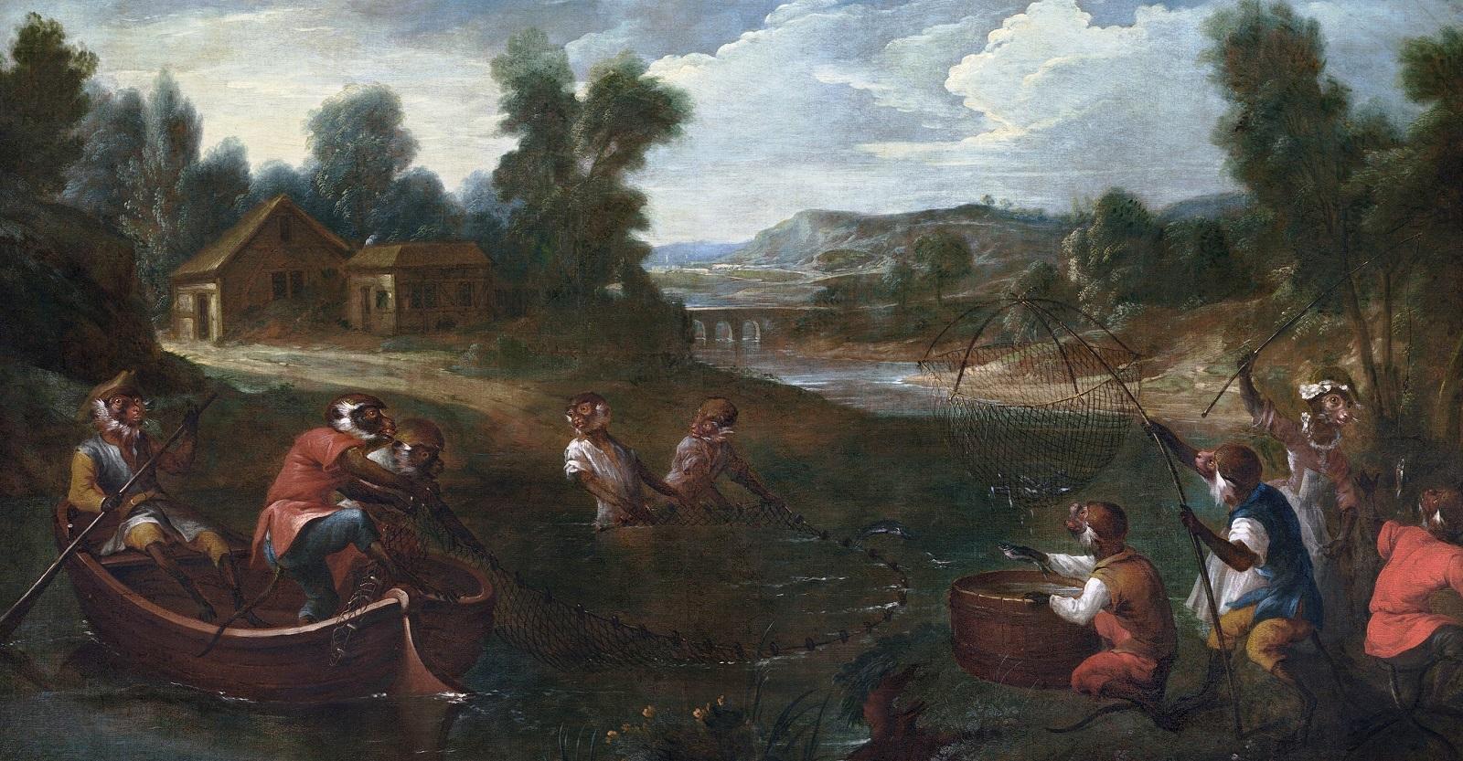 Кристоф Юэ. Обезьянник: рыбаки, ок. 1739.