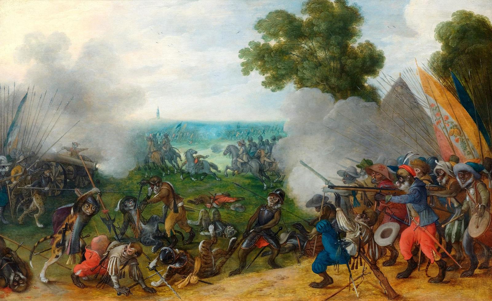 Себастьян Вранкс. Аллегорический бой между вооружёнными обезьянами и кошками во фламандском пейзаже, ок. 1630.
