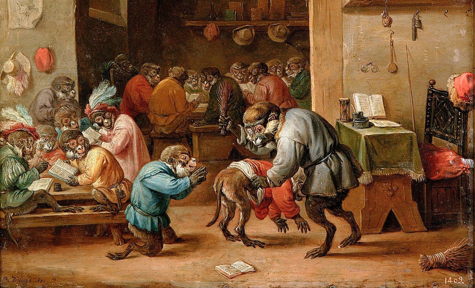 Давид Тенирс Младший. Обезьянья школа, ок. 1660.