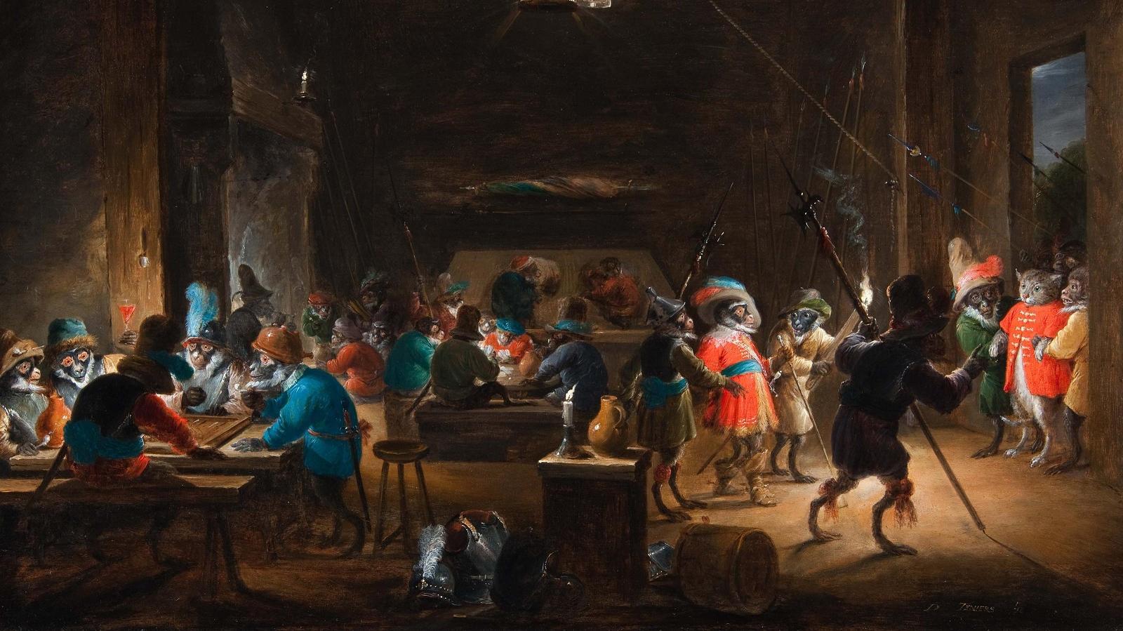 Давид Тенирс Младший. Караульная комната с обезьянами, ок. 1633.