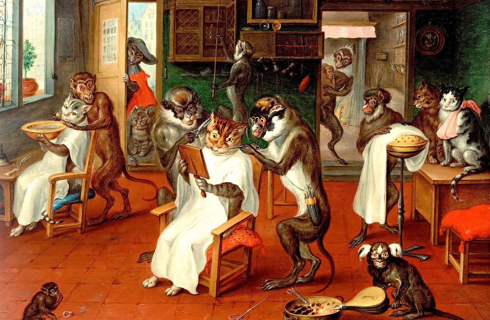 Авраам Тенирс. Парикмахерская с обезьянами и котами, между 1633 и 1667.