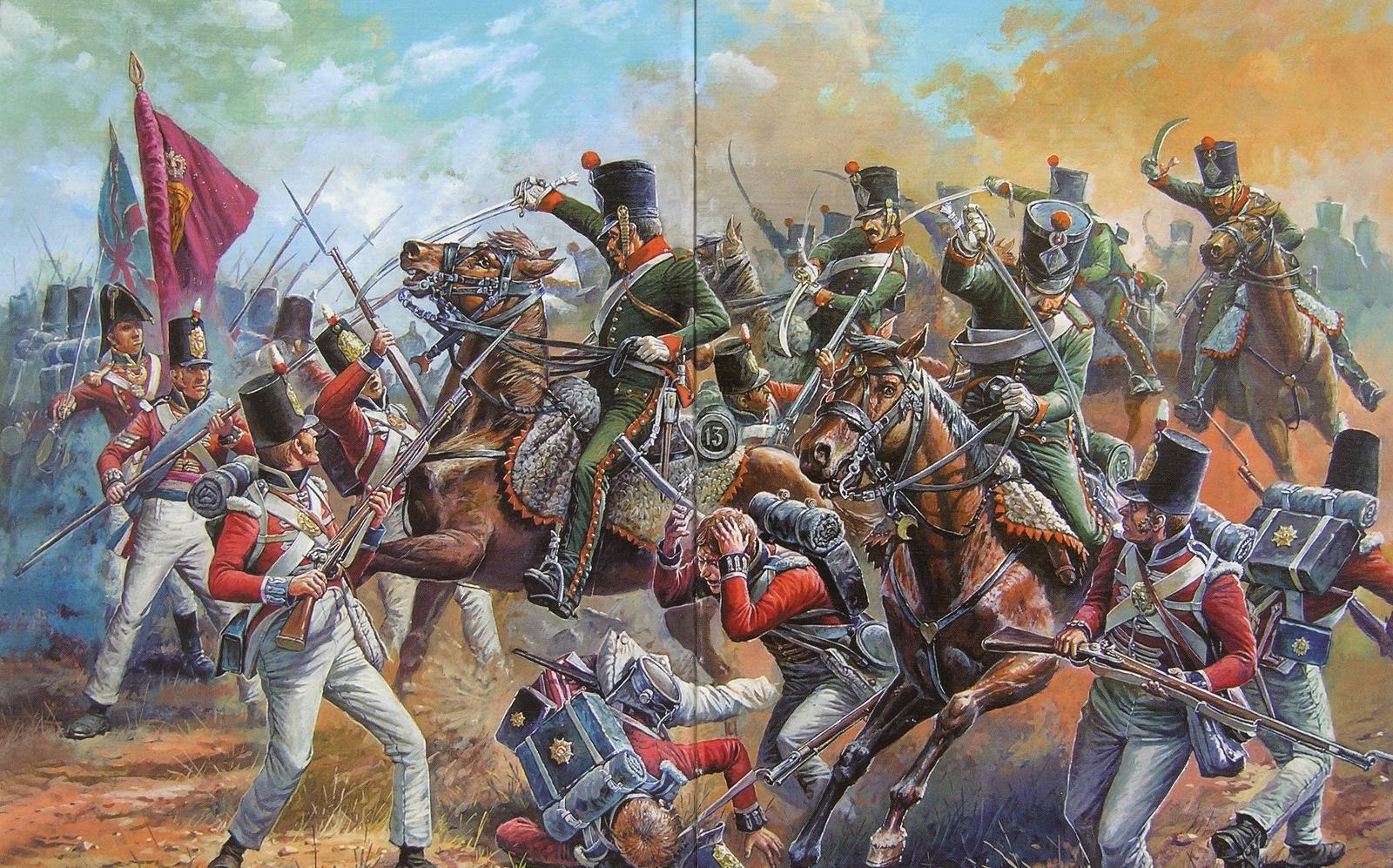Конные егеря против английских гвардейцев.
