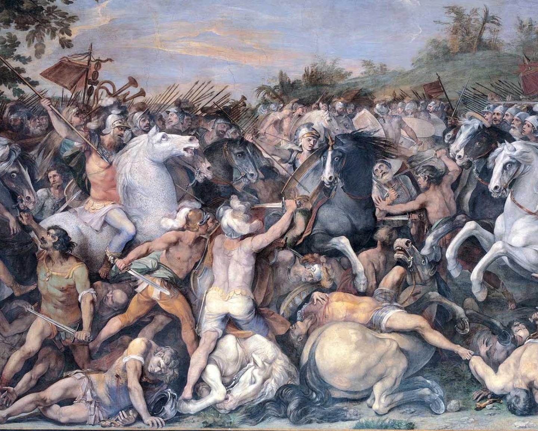Битва римлян с этрусками, худ. Джузеппе Чезари.