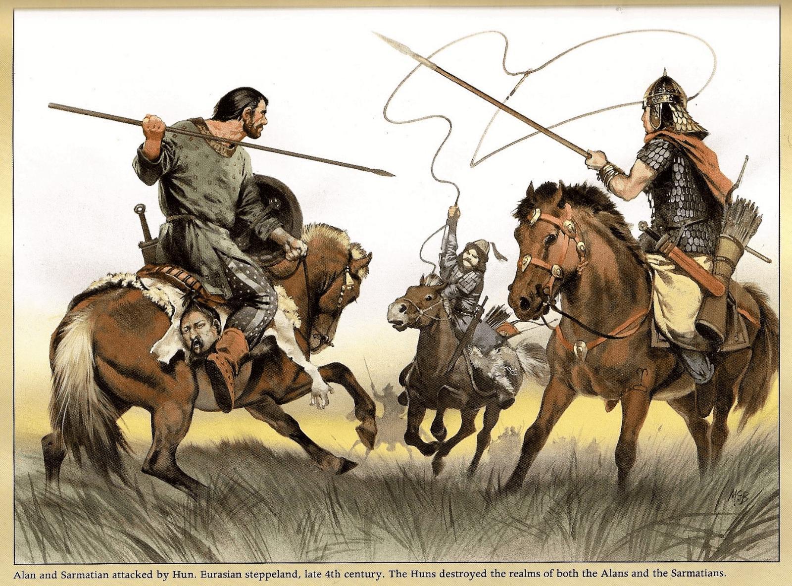 Сарматы в бою против гунна.