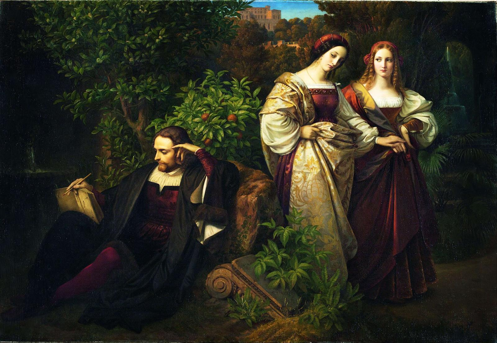 Карл Фердинанд Зон. Торквато Тассо и две Леоноры, 1839.