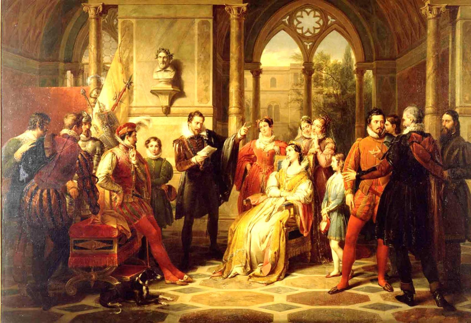 Франческо Подести. Тассо, декларирующий «Освобождённый Иерусалим» при дворе, 1831–1834.