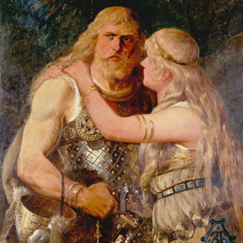 Арминий прощается с Туснельдой. Йоханнес Герц, 1884.