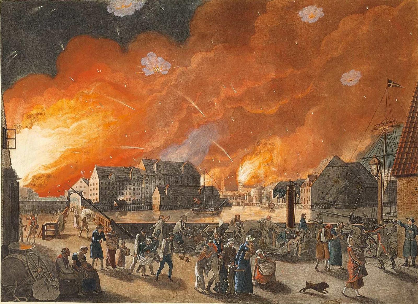 Бомбардировка Копенгагена английским флотом, сентябрь 1807 года.