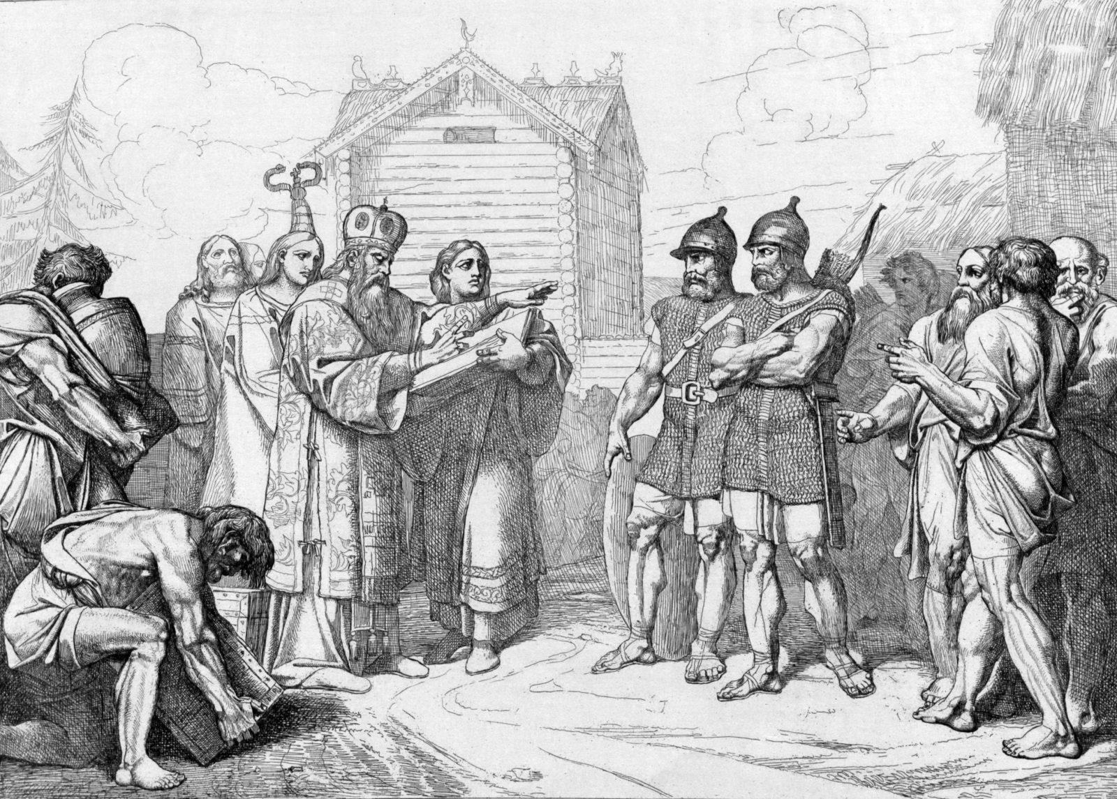 Прибытие в Киев византийских миссионеров.
