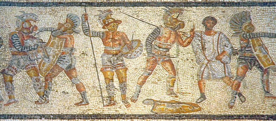 Мозаика с разными типами гладиаторов в&nbsp;Северной Африке. <br>