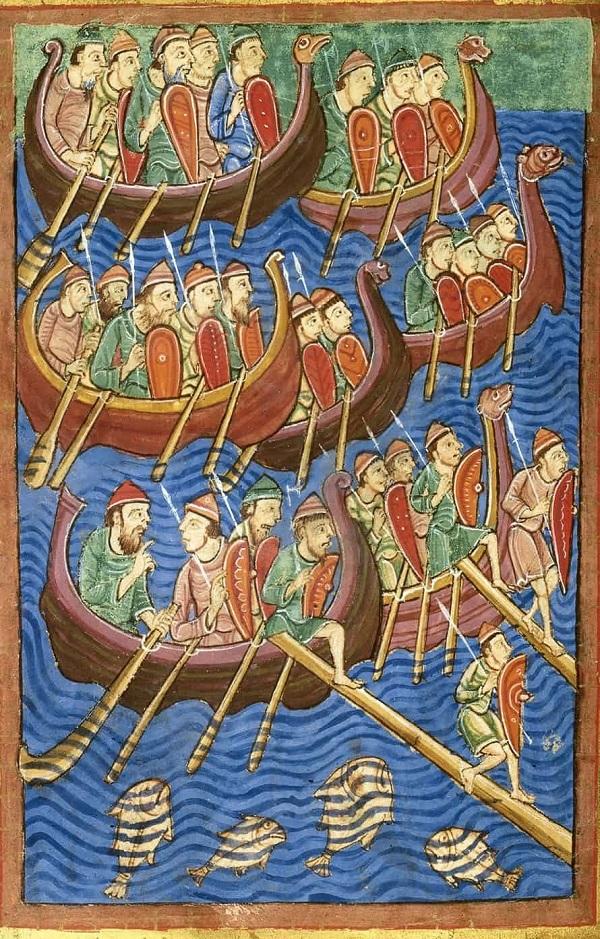 Прибытие викингов в Британию.