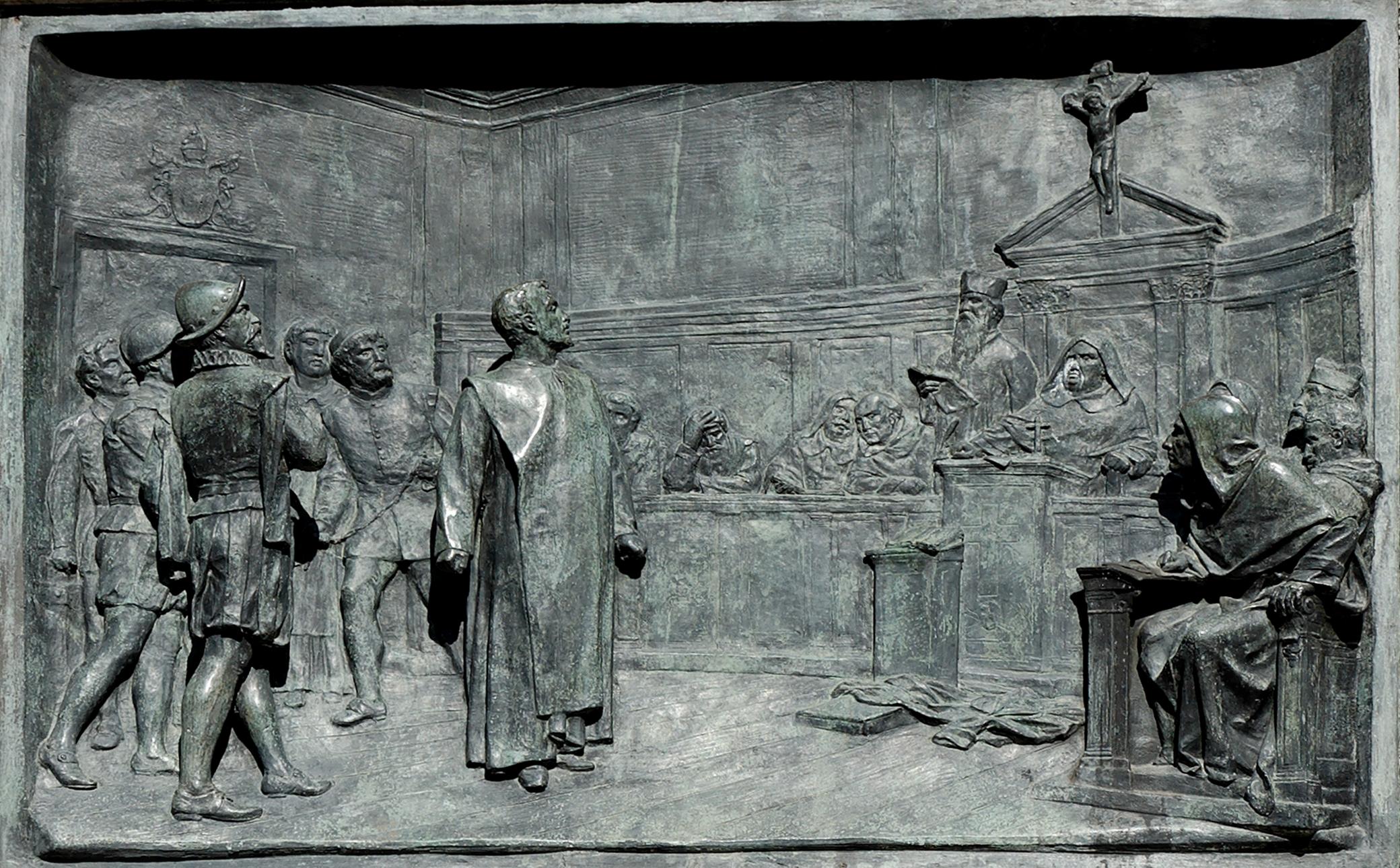 3 The trial of Giordano Bruno by the Roman Inquisition. Bronze relief by Ettore Ferrari Campo de Fiori Rome.jpg