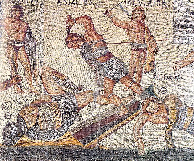 Фрагмент «Гладиаторской мозаики» 4 века н. э. <br>