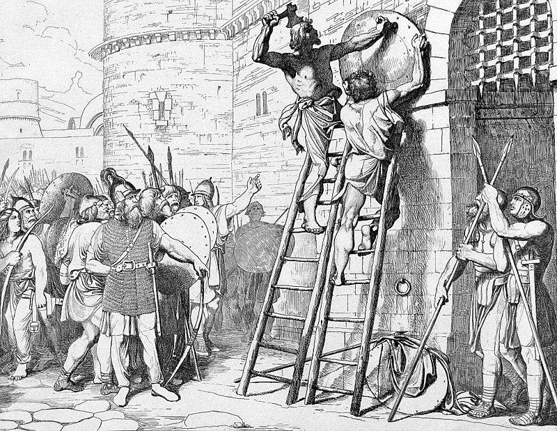 Олег прибивает щит свой к вратам Царьграда. Гравюра Ф. А. Бруни, 1839год.jpg