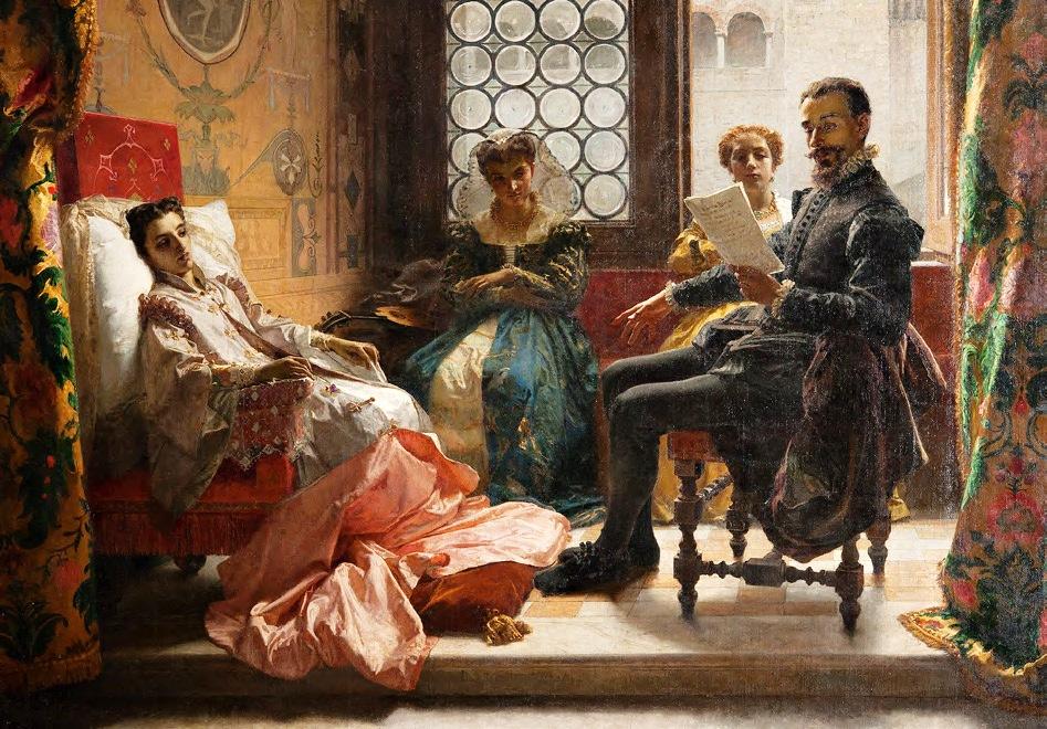 Доменико Морелли. Торквато Тассо, читающий «Освобождённый Иерусалим» Леоноре д'Эсте, 1865.