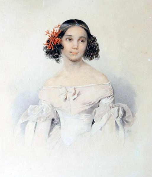 Сарра Толстая, акварель Петра Соколова, 1836.