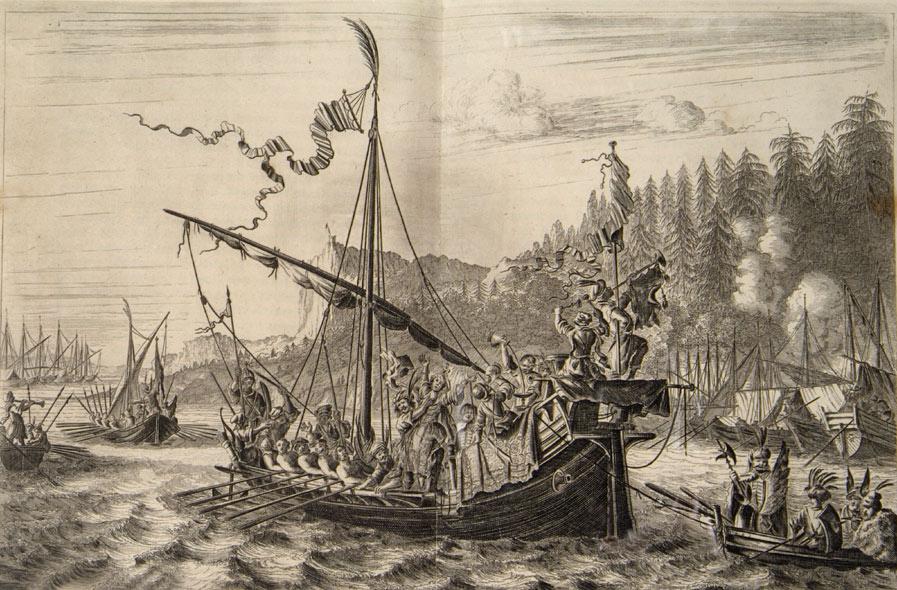 Фото 4. Стенька Разин бросает персидскую принцессу в Волгу. Гравюра из книги Яна Стрейса изданной в Амстердаме 1681.jpg
