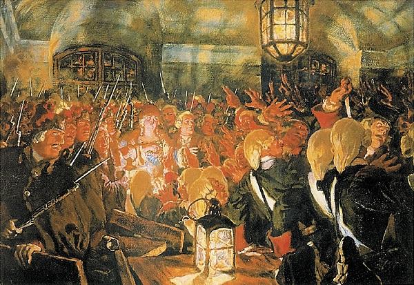 Гвардия провозглашает императрицей Елизавету. Е. Лансере.
