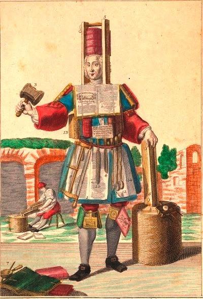 Костюм переплетчика, гравюра неизвестного мастера с оригинала М. Энгельбрехта, 1708−1756.