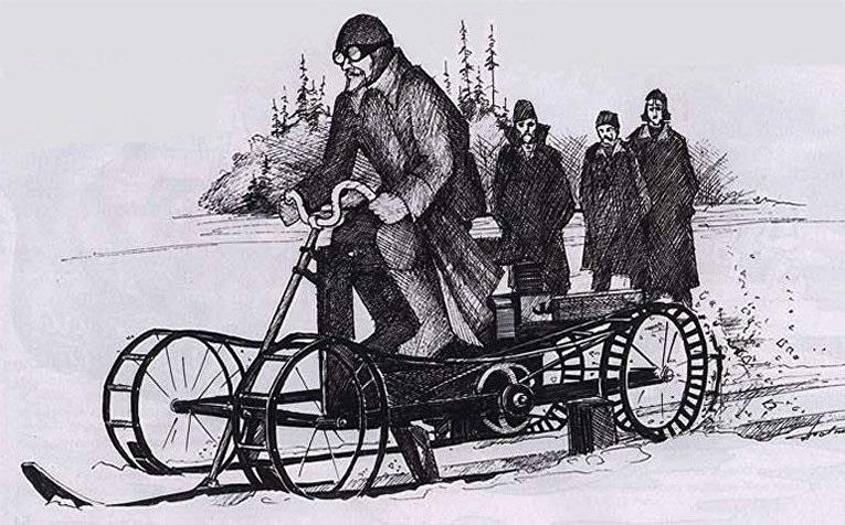 Первые моторные сани Неждановского.