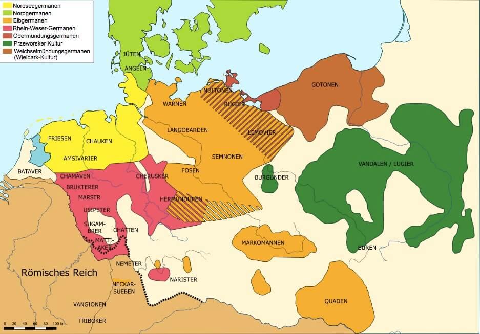 Карта расселения германских племён к 1-му в. н. э.