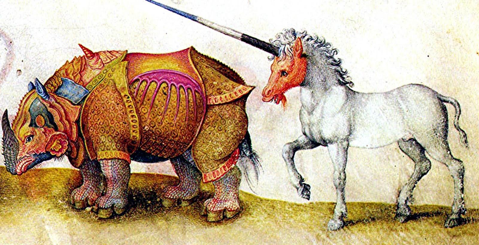 Разноцветный носорог и единорог.