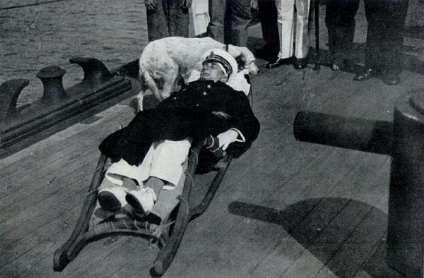 Раненый капитан Хорти на палубе крейсера Новара.