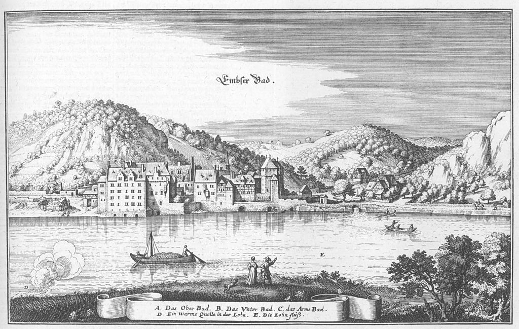 Бад Эмс на гравюре 1655 года.