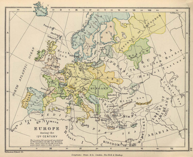 Политическая карта Европы XV века. <br>