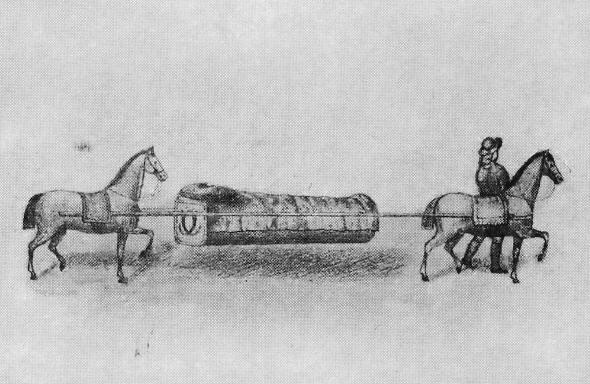 Фрагмент гравюры с изображением носилок.