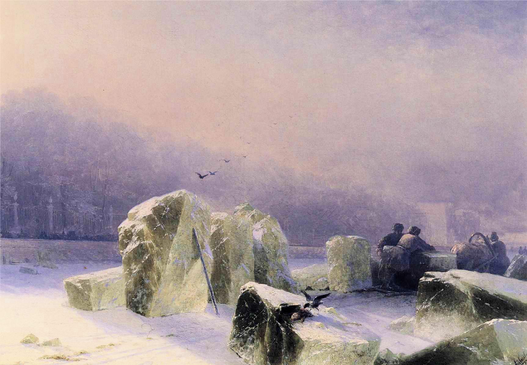 Айвазовский. Ледорубы на Неве, 1877.