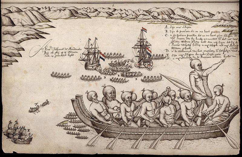 Каноэ маори и корабли Абеля Тасмана в Бухте убийц.jpg