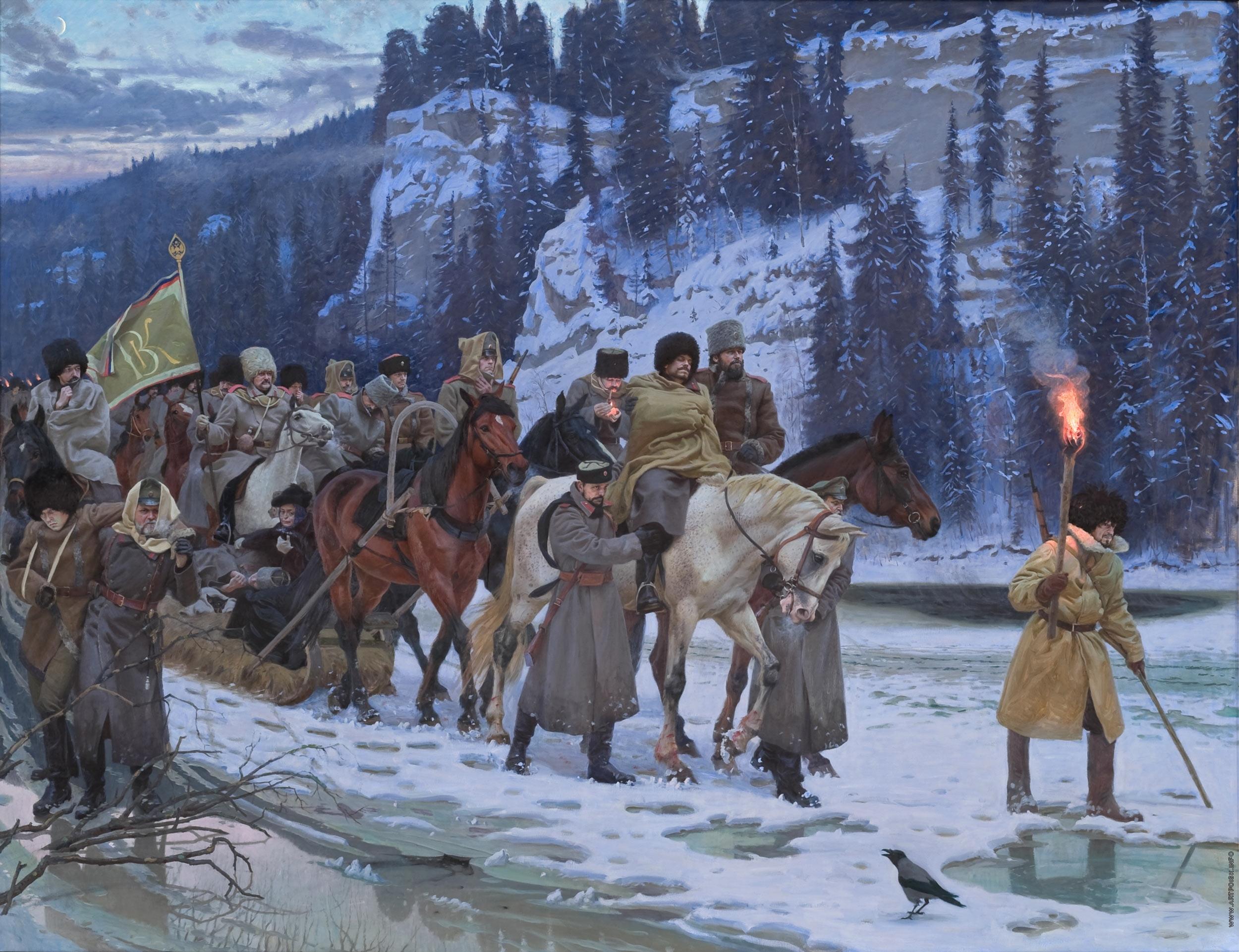 Так пришлось отступать основной массе белых войск.