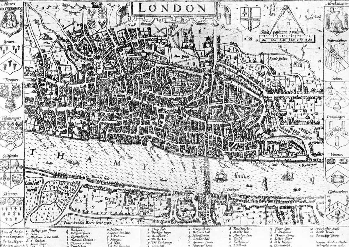 Древняя карта Лондона.