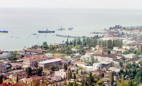 A general view of Sukhumi Abkhazia and its bay seen sometime around 1910 from Cherniavskii Mountain.jpg