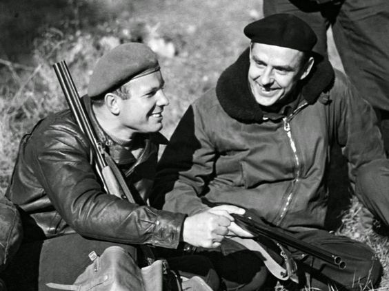 Vladimir Komarov and Yuri Gagarin. Komarov was among Gagarins best friends.jpg