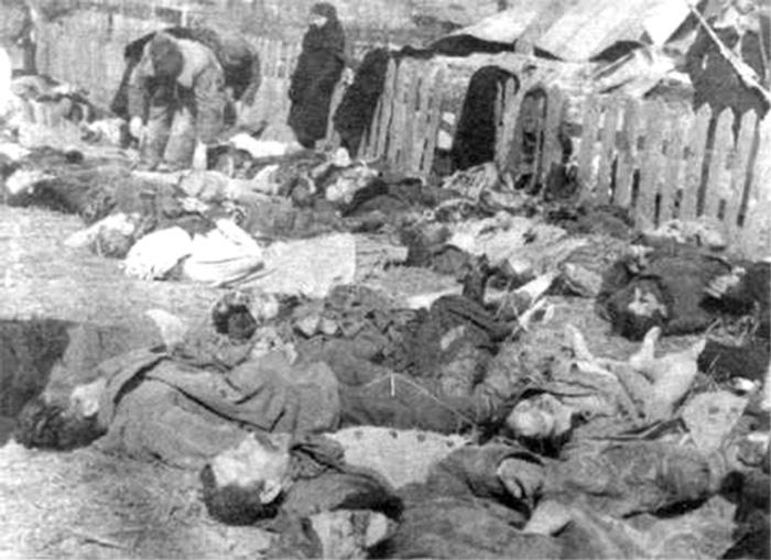 Жертвы резни в Липниках, 1943. <br>