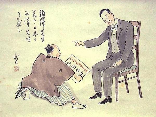 Карикатура того времени на реставрацию Мэйдзи.