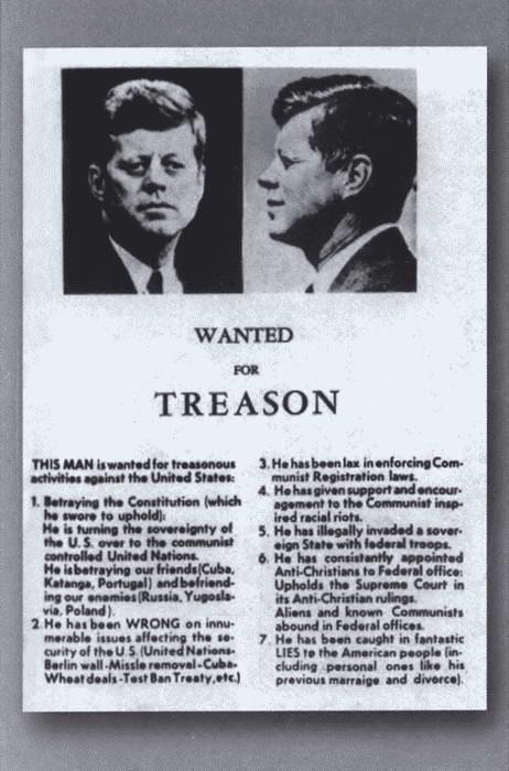 Листовки, расклеенные в Далласе перед визитом президента Кеннеди.
